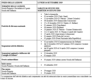 Calendario Trasporti 2020.Calendario Scolastico A S 2019 2020 Iccoriano Edu It
