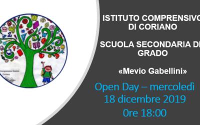"""Open Day – Scuola Secondaria di I grado      """"M. Gabellini"""" – Coriano"""